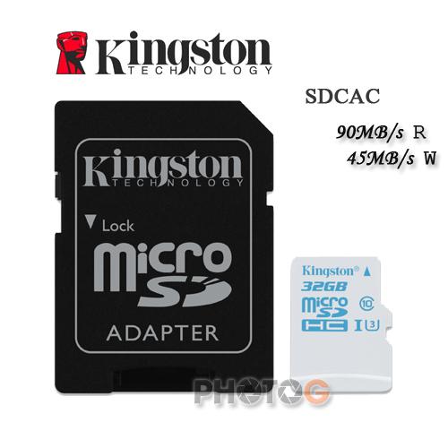 600X Kingston SDCAC  microSDHC / SD 32GB 32G  class 10 UHS-I  U3 讀90mb/S 寫45mb/s 4K2K 錄影 運動攝影 Gopro 終身保固