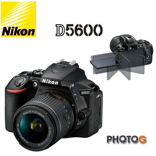 Nikon D5600 Kit ( 含 AF-P 18-55VR 鏡頭 )  內建WIFI ; GPS 、翻轉螢幕 國祥公司貨】