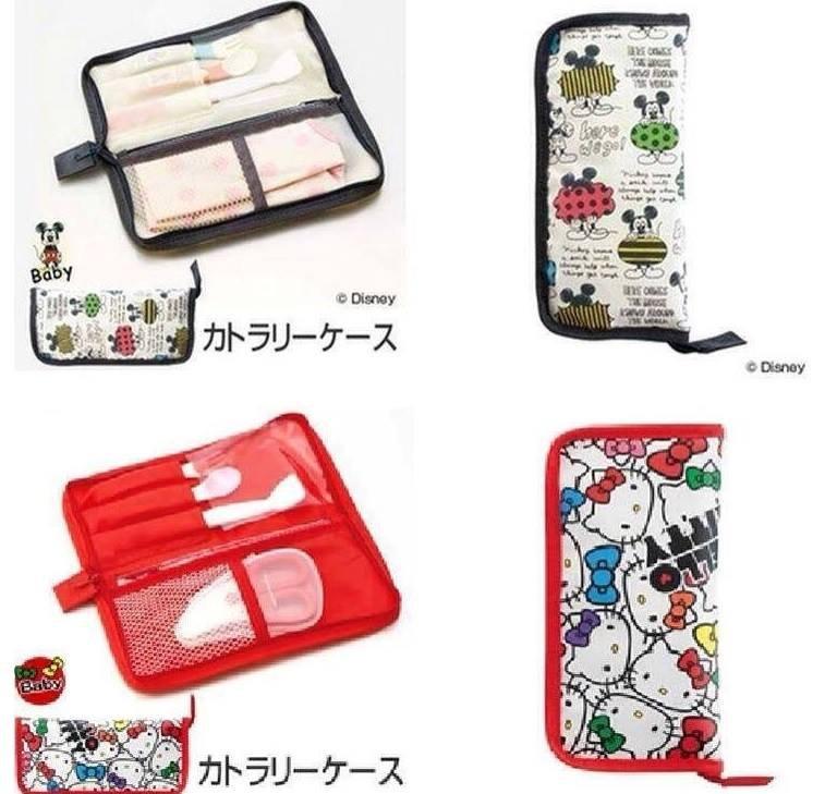 『日本代購品』米奇款 卡通外出餐具收納包 餐具收納袋