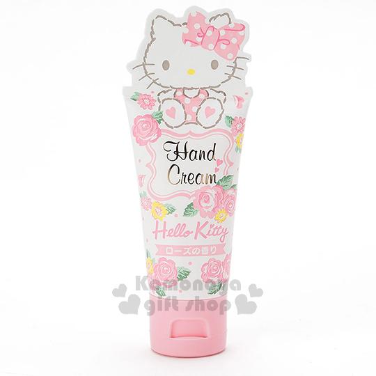 〔小禮堂〕Hello Kitty 香味護手霜《白.坐姿.多玫瑰.30ml》玫瑰香味