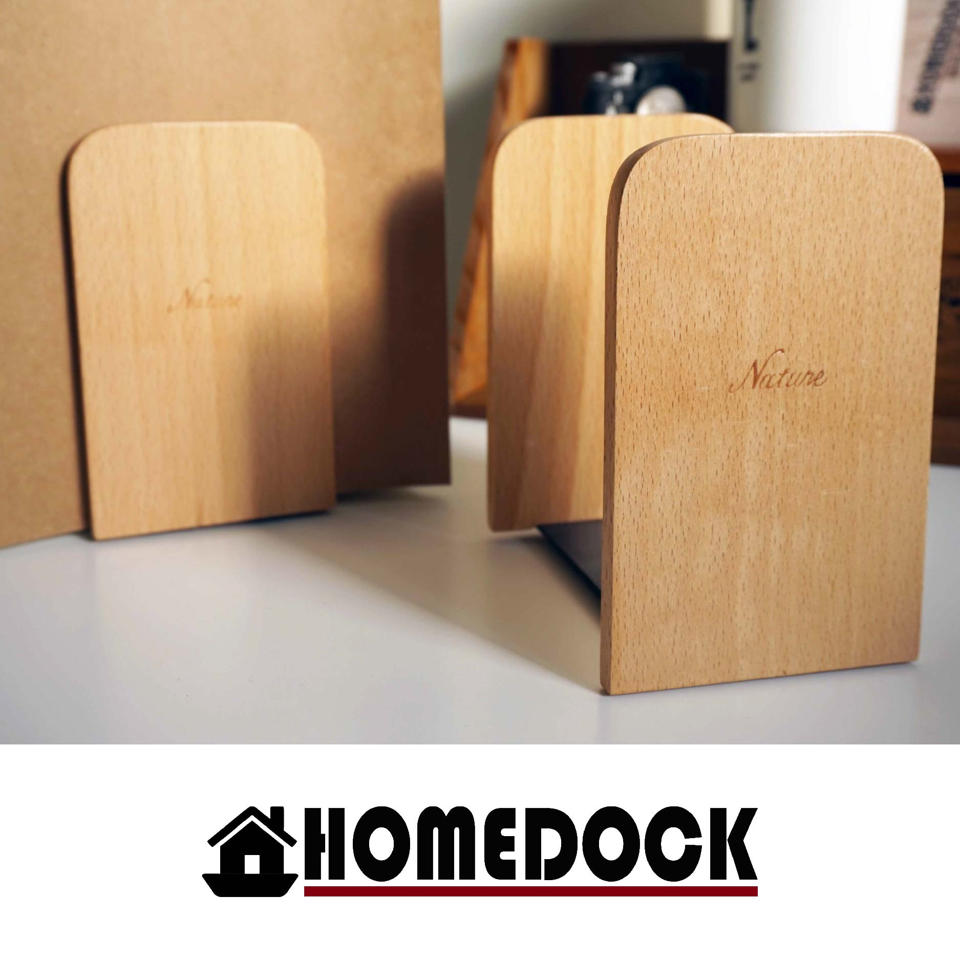 HOMEDOCK-輕生活原木質感書擋(1對) /書架/Zakka/雜貨/原木製/德國設計