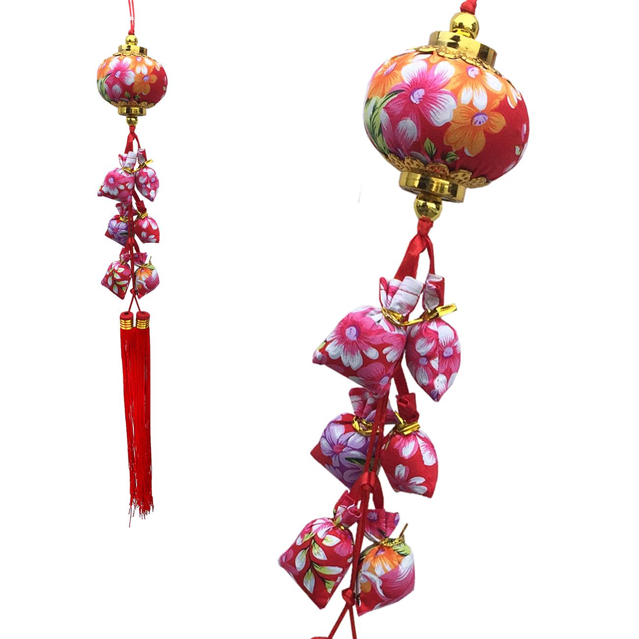 X射線【Z157134】客家風花布燈籠+錢袋,春節/過年/吊飾/過年佈置/做生意/送禮/開運/雞年