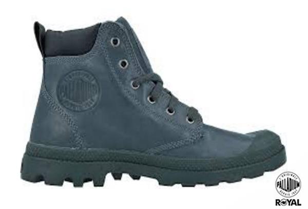 Palladium 新竹皇家 PAMPA HI CUFF LEA 灰藍/黑 皮質 軍靴 男款 NO.A8290
