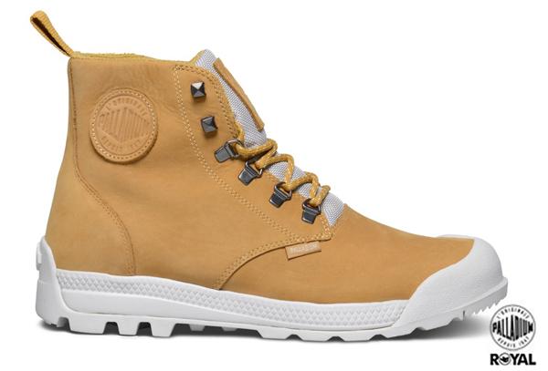 Palladium 新竹皇家 PAMPATECH HI LEA WP 黃色 磨砂皮革 進化防水系列 軍靴 男款 NO.A8293