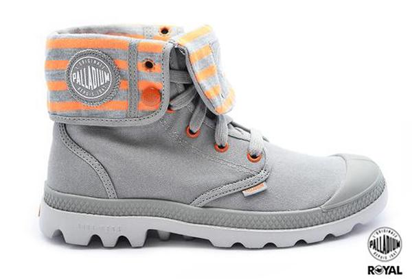 Palladium 新竹皇家 BAGGY LITE CVS 灰/橘 條紋 水洗布 反摺靴 女款 NO.I7316