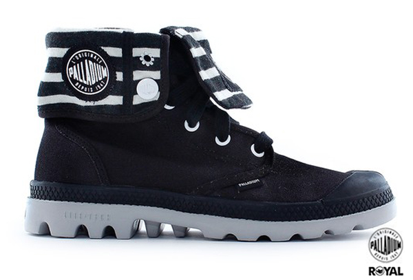 Palladium 新竹皇家 BAGGY LITE CVS 黑/白 條紋 水洗布 反摺靴 女款 NO.I7317