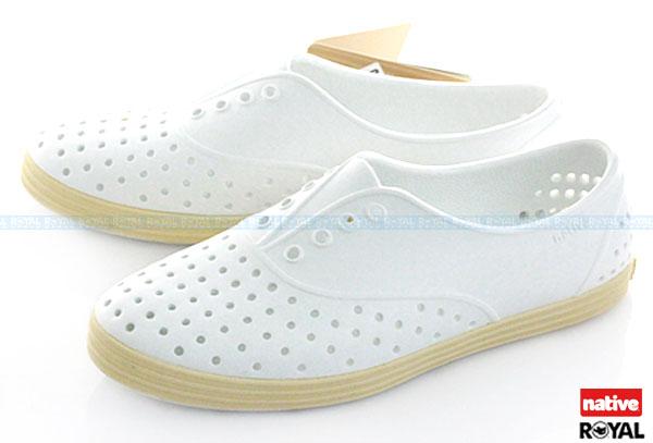 新竹皇家 加拿大 Native native jericho 呼吸 輕量 全白 橡膠 懶人鞋款 女款 免運費NO.I3306