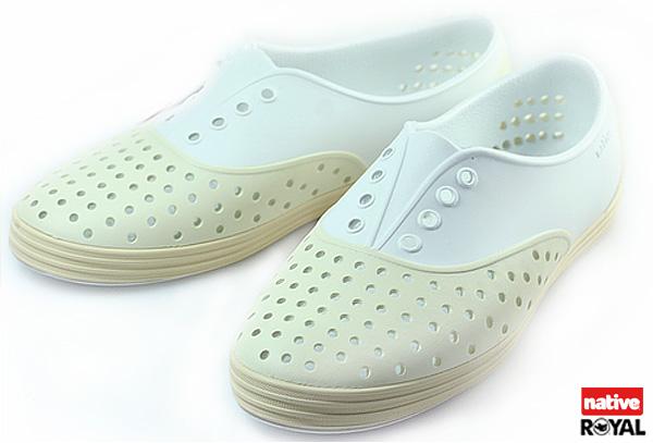 新竹皇家 加拿大 Native JERICHO 白/米色 呼吸 輕量 橡膠 鞋款 女款 免運費NO.I3839