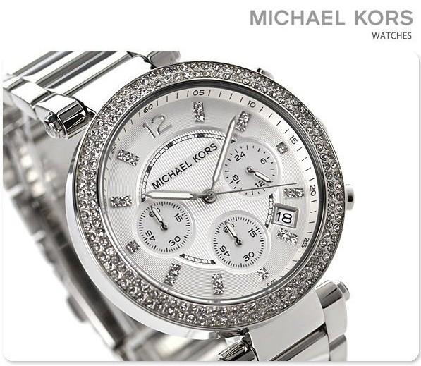美國Outlet 正品代購 MichaelKors MK 時尚 銀色 鑲鑽 三環計時手錶腕錶 MK5353