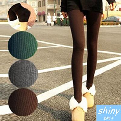 【29A30】shiny藍格子-百搭商品.秋冬保暖針織豎條紋超顯瘦踩腳褲襪
