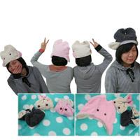 【aife life】超級卡哇伊,超夯雜誌明星款兔兔帽/兔子帽,摺疊好收納,帶起來更有型~