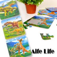【aife life】幼兒玩具造型拼圖四入一組/動物恐龍拼圖/水果拼圖/學習拼圖,專為孩童設計,適合抓握,色彩鮮豔刺激視覺發展