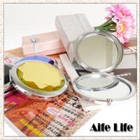 【aife life】水晶鏡面美妝鏡/化妝鏡/隨身鏡/方便攜帶,多種顏色水晶雙面化妝鏡,時尚不失質感!!