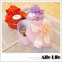 【aife life】愛心型收藏鐵盒(蝴蝶花漾緞帶)/婚禮小物包裝糖果盒贈禮品盒喜糖盒馬口鐵盒/可印字