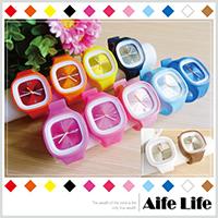 【aife life】矽膠果凍錶(方形)/方形糖果錶男女電子錶多功能運動手錶矽膠表腕表