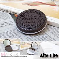【aife life】巧克力夾心餅乾梳鏡組/摺疊折疊鏡子梳子梳妝鏡化妝鏡隨身鏡