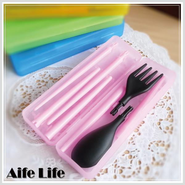 【aife life】果凍盒裝餐具組/環保餐具組/組合餐具組/環保筷 叉子 湯匙 出外攜帶方便,安全又環保