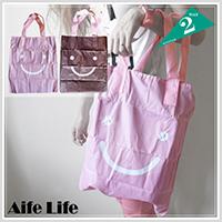 【aife life】韓系微笑摺疊環保購物袋/雙面包/肩背包/摺疊收納袋/防潑水收納包