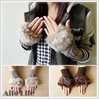 【aife life】仿兔毛露指針織手套/袖套/針織保暖手套/保暖手套/仿兔毛半指手套