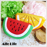 【aife life】絨布水果零錢包/西瓜零錢包/柳橙零錢包/水果造型零錢包/萬用收納包/手機收納袋