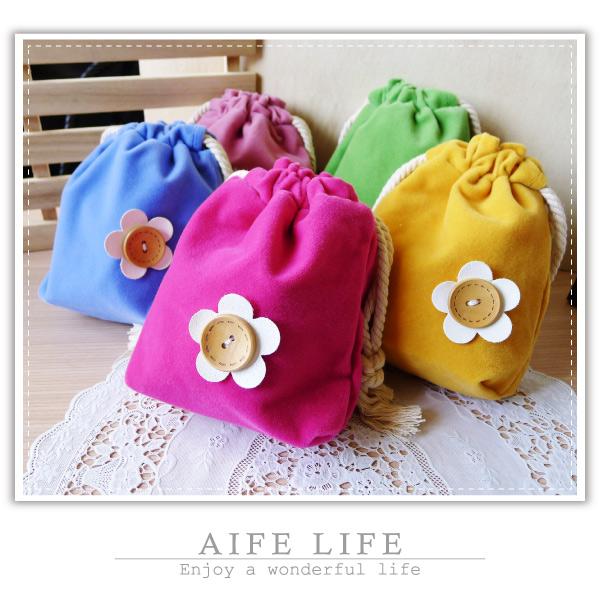 【aife life】日韓系小花束口袋/花朵收納袋/木釦萬用袋/抽繩收納袋/萬用包/手提包/絨布袋