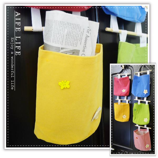 【aife life】小花收納掛袋/絨布收納袋/DIY吊式掛袋/收納掛包/收納包/牆上掛整理袋