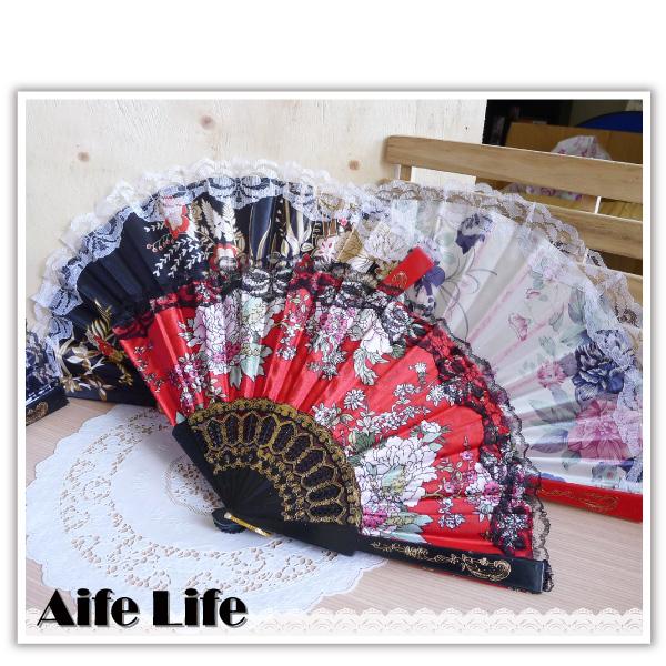 【aife life】蕾絲邊繡花扇/西班牙蕾絲扇/布面扇/緞面扇/中國風復古扇/手搖扇/折扇/扇子/cosplay角色扮演/舞蹈表演