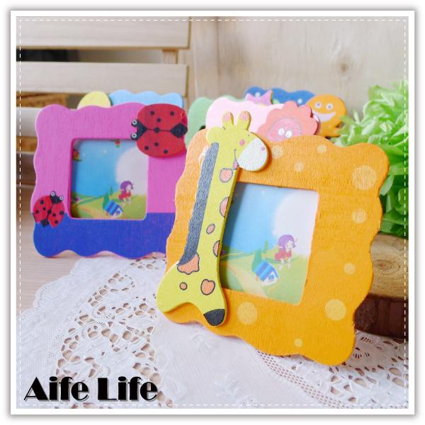 【aife life】木質小相框/動物造型相框/大頭照/木頭框/裱褙/桌上型掛立兩用相框