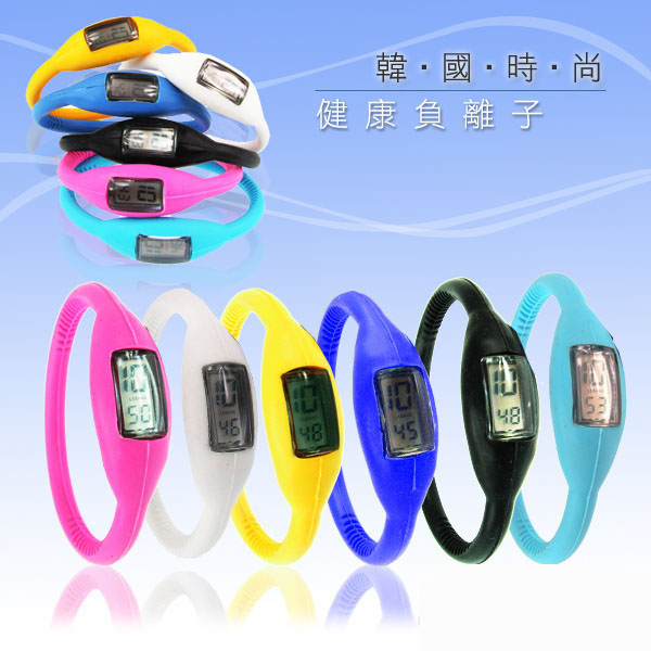【aife life】負離子運動手錶-小-電子/負離子減壓自行車電子手錶/腕表 超輕量防水 流線造型