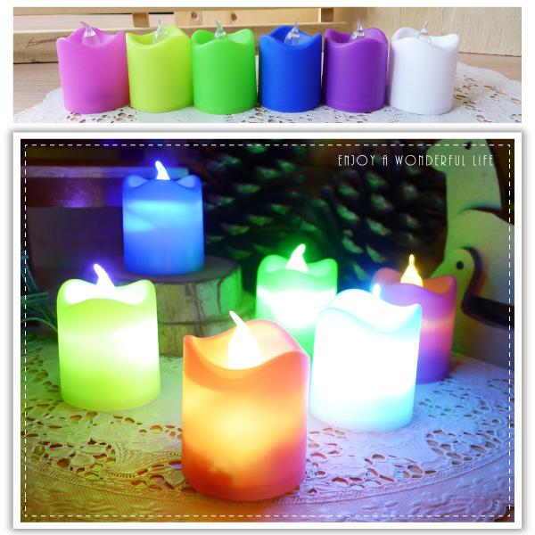 【aife life】波浪七彩LED蠟燭燈/彩色擬真蠟燭燈/生日蠟燭/小夜燈/居家婚禮佈置/LED燈/情境燈