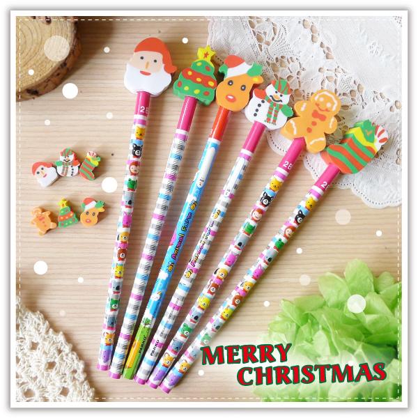 【aife life】聖誕鉛筆橡皮擦文具組/聖誕禮物/聖誕老公公/可愛聖誕文具組/鉛筆/造型橡皮擦