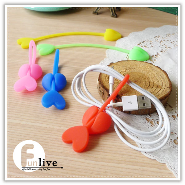 【aife life】愛心綑線帶/一箭穿心集線器/捲線器/整線繩/繞線器/耳機線收納/封口綑帶