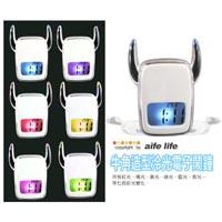 【aife life】◆免運◆時尚優質另類牛角照型led燈泠光電子鬧鐘/時鐘~可報時、溫度、超大響鈴,七彩迷幻燈光變化