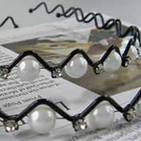 【aife life】氣質滿分~珍珠水鑽波浪髮箍