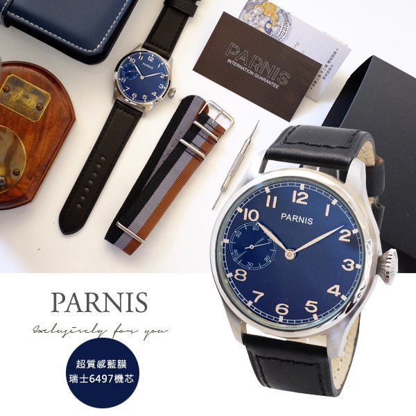 【完全計時】手錶館│PARNIS軍錶風格 手動上鍊機械錶 底蓋鏤空 PA6497-B 瑞士6497機芯 46mm 沛納海