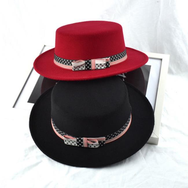 50%OFF【E018689SWH】帽子女秋冬天英倫大簷時尚帽韓版潮拼色羊毛呢爵士帽