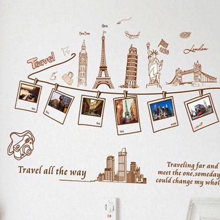 Loxin 【BF0582】創意可移動壁貼 牆貼 背景貼 時尚組合壁貼樹 璧貼 磁磚貼 景色相片貼