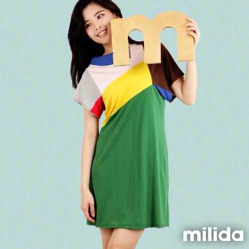 【Milida,全店七折免運】-早春商品-小A版-撞色顯瘦洋裝