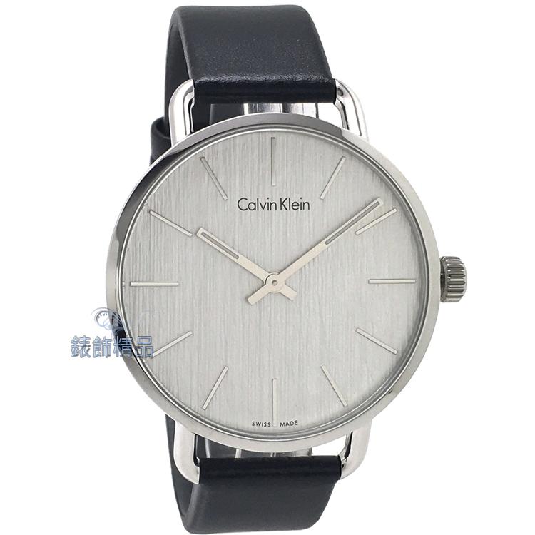 【錶飾精品】CK手錶 EVEN系列 優雅時尚 岩紋設計 白面黑皮帶男錶 K7B211C6 全新原廠正品 生日情人禮物