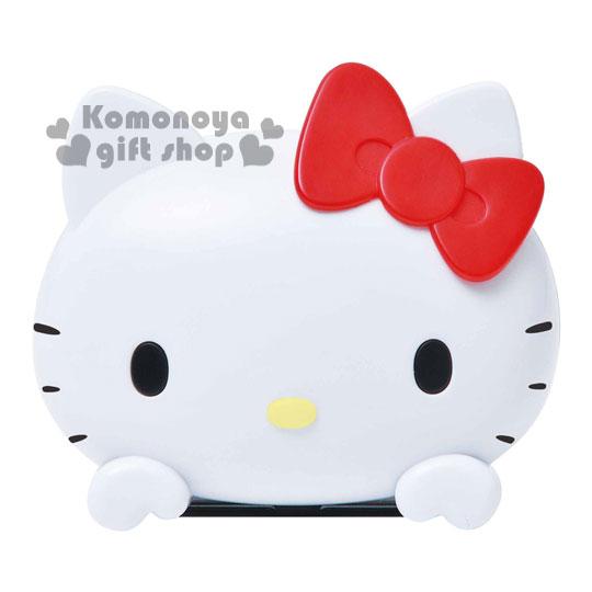 〔小禮堂〕Hello Kitty 車用液晶時鐘《小.白.大臉》室內空間可用