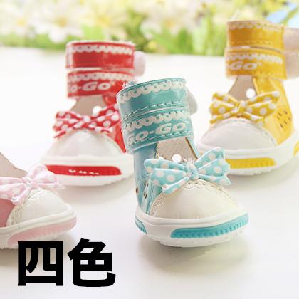 【小樂寵】點點蝴蝶結透氣高筒涼鞋/四色
