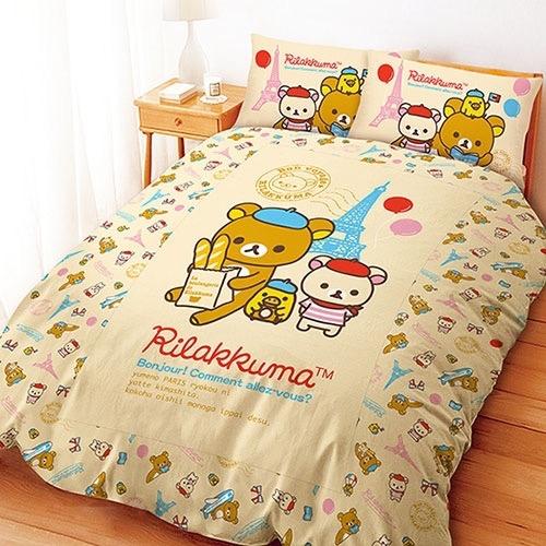 【UNIPRO】拉拉熊 Rilakkuma 5X6.2尺 雙人床包組(枕頭套X2+床單X1)  巴黎生活 San-X 正版授權 台灣精品
