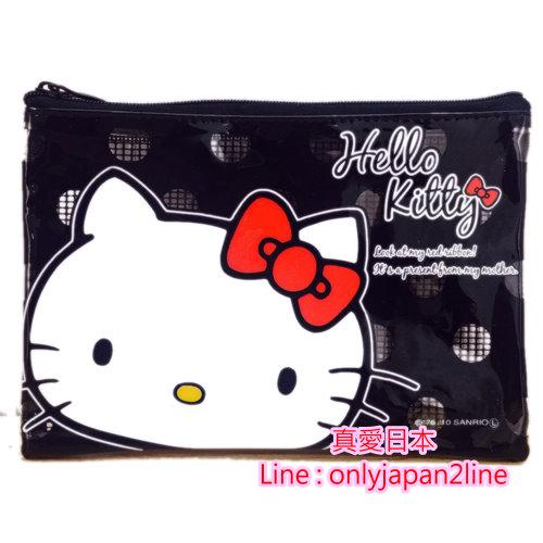 【真愛日本】16091400051 網格拉鍊小收納袋-大臉KT黑   KITTY 凱蒂貓 三麗鷗  收納袋 生活雜貨