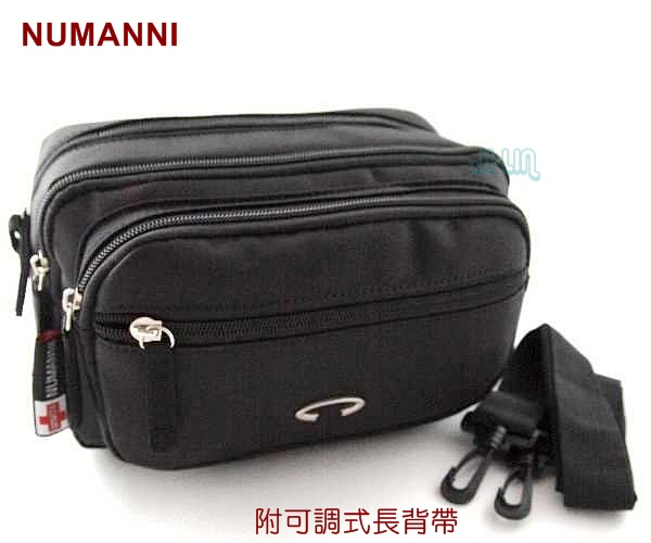 25-9670【NUMANNI 奴曼尼】簡約型多隔層2way尼龍腰包 (黑)