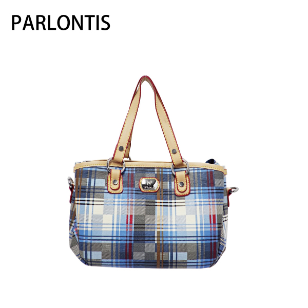 【PARLONTIS派龍蒂斯】淺藍個性格紋小款多格層二用包