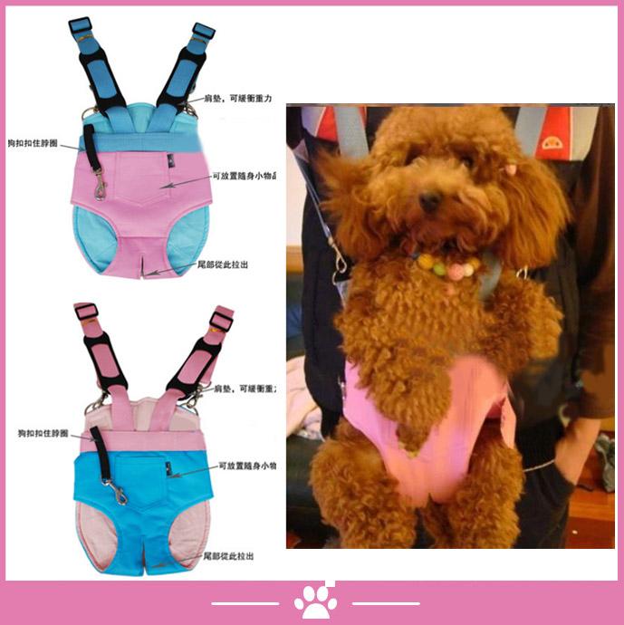寵物用袋鼠媽媽軟皮雙肩背包-小-(粉紅、粉藍共2色顏色隨機出)2腳孔寵物胸前背包外出包攜帶包旅行包【折扣價】