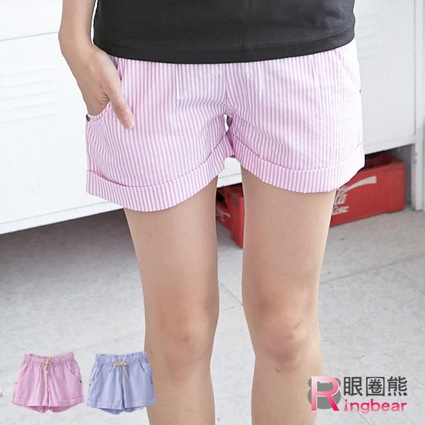 短褲--休閒簡約鬆緊褲頭細條紋雙口袋休閒短褲(粉.藍M-L)-R120眼圈熊中大尺碼