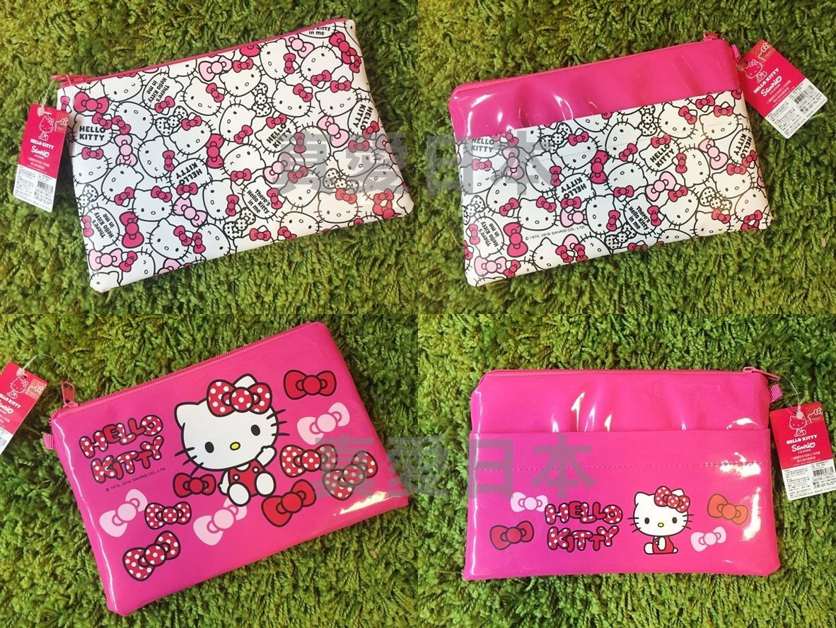 【真愛日本】16051000001 光膠雙層收納袋2款-KT 三麗鷗 Hello Kitty 凱蒂貓 文件袋 收納 文具