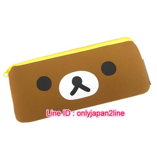 【真愛日本】16110100001潛水布扁長拉鏈筆袋-大臉咖  SAN-X 懶熊  奶熊 拉拉熊  鉛筆袋 收納袋