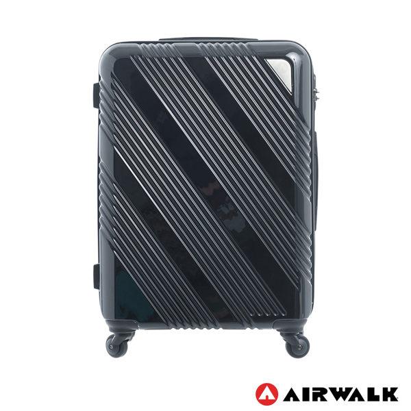 AIRWALK LUGGAGE - 【禾雅】斜紋系列 24吋ABSPC拉鍊行李箱 - 斜紋黑